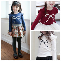 Fashion Baby Autumn Skirt Kids Long Sleeve Candy Color Undershirt. = 1704343236