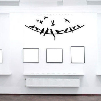 WALL VINYL STICKER DECAL MURAL Birds on Wire Animal Cute Design  A378
