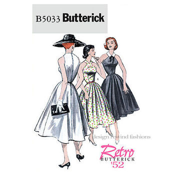 COCKTAIL DRESS Pattern Cut-Away Shoulders Party Prom Dress Evening Gown Butterick 5033 Re-Issue size 6 8 10 12  Womens Sewing Patterns UnCUT