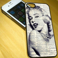 marlyn monroe vintage newspaper pose iPhone Case And Samsung Galaxy Case