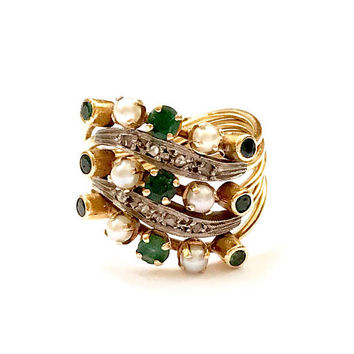 Antique Harem Ring, 18k 2 Tone Gold, Victorian Emerald Pearl Diamond Ring, Multi Stones, 5 Curved Bands, Stacking Ring, Victorian Jewelry