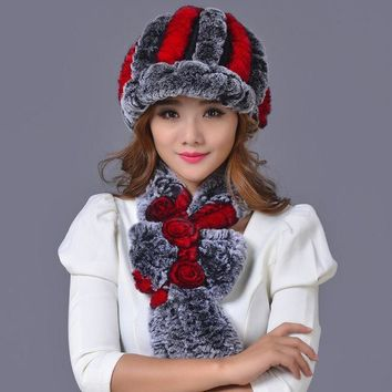 Sale 2016 Winter Beanies Fur Hat For Women Knitted Rex Raccoon Fur Hat With Scarf Shawl 1set Free Size Casual Women's Hat