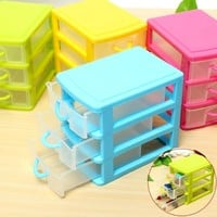 Colorful Desktop Three Drawers Jewelry Storage Box Holder