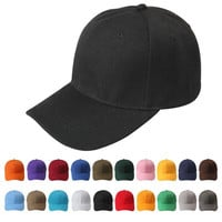 New Plain Fitted Curved Visor Baseball Cap Hat Solid Blank Color Caps Hats = 5979114433