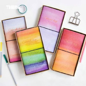Creative Colorful Day PU Leather Cover Planner Notebook Diary Book Exercise Composition Binding Note Notepad Gift Stationery