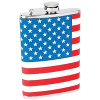 Maxam KTFLKFLG Stainless Steel Hip Flask USA Flag Wrap, 8 oz