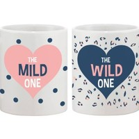 Cute Polka Dot and Leopard Print Coffee Mugs for Best Friends - Mild One and Wild One Best Friend - BFF gift and accessories