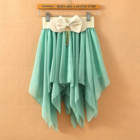 A 072401 y Solid color pleated chiffon skirt irregular