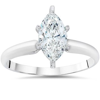 Ethically Mined 14K White Gold 1CT Marquise Cut Diamond Solitaire Engagement Ring