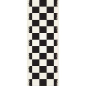 English Checker Design  Size Rug: 2ft x 6ft black & white colors with a weather aged finish super durable and multilayer technical grade vinyl rug.