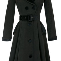 Candice Gwinn Fontaine Coat Dress | Vintage Inspired Coat | Black Ribbed Rayon