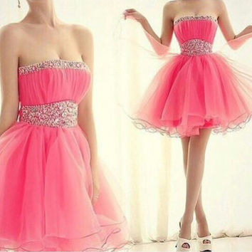 Pink Strapless Crystal Empire Organza Mini Homecoming Dress with Beadings