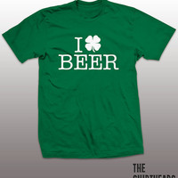 I Heart Beer Shirt - St. Patricks Day funny t-shirt, mens womens gift, Irish tshirt, green beer tee, shamrock, drinking graphic, booze party