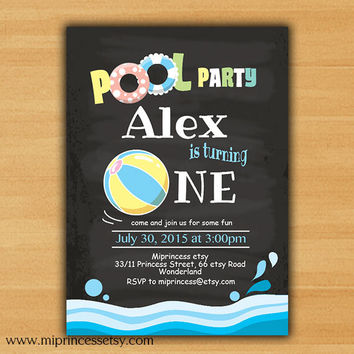 Pool Birthday Invitation chalkboard swimming party Splish Splash invitation any age 1st 2nd 3rd 4th 5th 6th 7th 8th 9th 10th - card 626