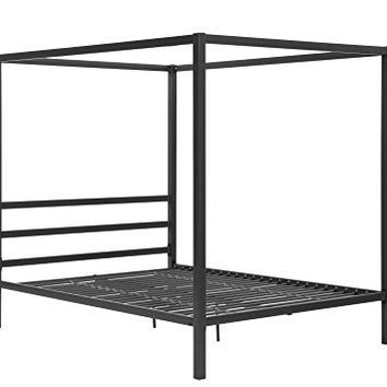 DHP Modern Metal Framed Industrial Canopy Bed Frame, Queen, Grey