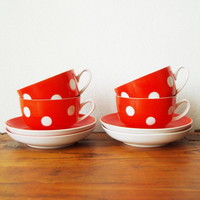 Polka dot  tea set Soviet vintage USSR Elegant coffee cups Kitchen Dinnerware set Bright Red Orange Tableware