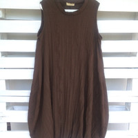 Cotton Dress, tulip bottom, balloon, loose fit, crinkled cotton dress, handmade brown dress by PIXIE DRESS