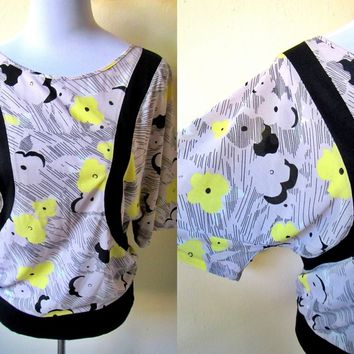 SALE: gray floral blouson top (free size), dolman sleeved blouse