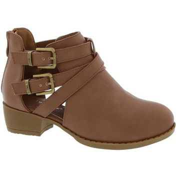 Girls Strapped Boot, Tan