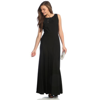 Alex Evenings Long Evening Dress with V-Back Illusion Detail