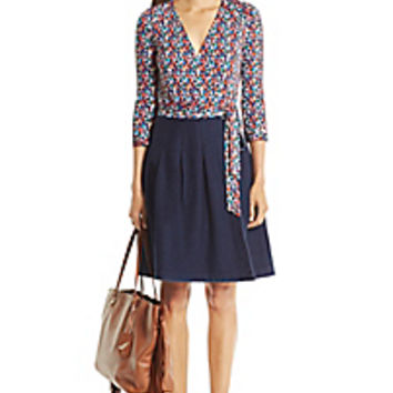 DVF Jewel Denim Combo Wrap Dress