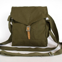 Vintage Military Bag 1960's Green Cotton by ARoadThroughTime