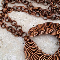 Vintage Boho Chic Copper Wire Swirled Pendant Necklace- Art Deco Nouveau / Retro / Modernist / Eye Catching / Stylish / Fashionable / Unique