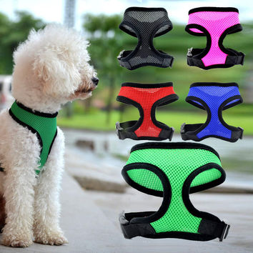 Adjustable Nylon Mesh Breathable Dog Harness Sports Jacket Vest Harness For Small Dog Cat Collar Harnesses Leash Set 5 Color
