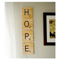 GIANT Scrabble style wood wall art choose your own by EmbieOnline