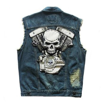 Trendy HEROBIKER Motorcycle Rider Vest Classic Vintage Motorcycke Jacket Men Club Denim Vest Sleeveless Biker Motorcycle Clothing AT_94_13