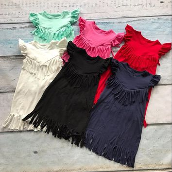 baby girls spring summer solid Tassels cotton dress boutique all-match clothing kids wear fringe multi color mint hot sale
