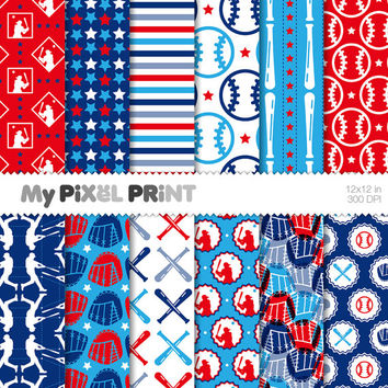 Baseball Champion - Blue Red - Softball Bat Game Team Player Balls League Sports Pitch - Digital Scrapbooking Paper Pack - My Pixel Print