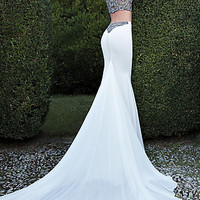 Long Two Piece Gown with Short Sleeves by Tarik Ediz