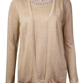 NY Collection Women's Faux 2PC Embellished Sweater