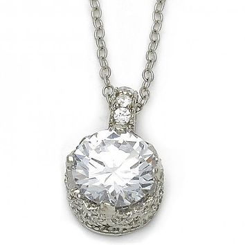 Sterling Silver 10.174.0126.18 Fancy Necklace, Crown Design, with White Cubic Zirconia, Rhodium Tone