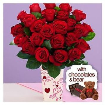 Two Dozen Red Roses with Valentine's Day Vase, Chocolates & Bear
