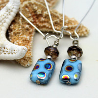 Blue Painted Glass and Picasso Czech Bead Dangle Earrings