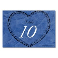 Wedding Table Number Tuscan Blue Hearts Wedding