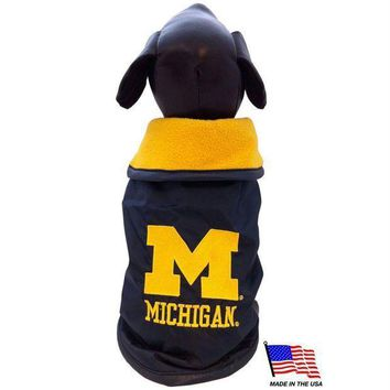 ICIKSX5 Michigan Wolverines Weather-Resistant Blanket Pet Coat
