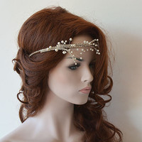 Wedding Headband, Pearl Headband, Hair Accessories,  Wedding Pearl Hair Vine , Wedding Hairpiece, Bridal Hair Accessories
