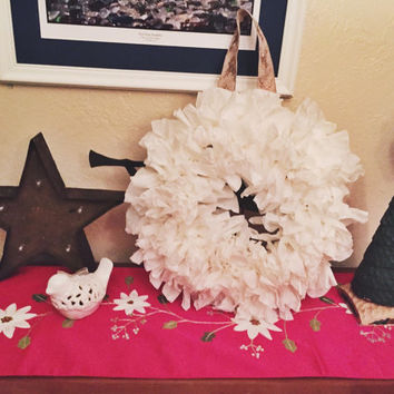 White Ruffle Wreath 12 inch Made From Upcycled Coffee Filters