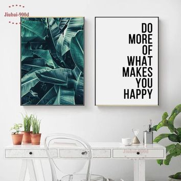 900D Posters And Prints Wall Art Canvas Painting Green Palm Wall Pictures For Living Room Nordic Poster Cuadros Decoracion NOR61