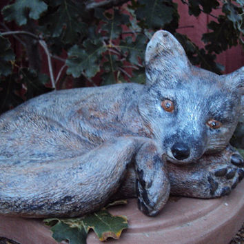 Fox, Stone Cold Gray Fox, Hand Cast, Hand Painted ooak painting, Indoor,Outdoor