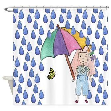 GIRL & BUTTERFLY SHOWER CURTAIN