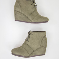 Faux Suede Olive Wedges
