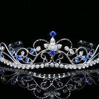 Rhinestone Crystal Flower Prom Bridal Wedding Crown Tiara - Royal / Dark Blue Crystals Silver Plating