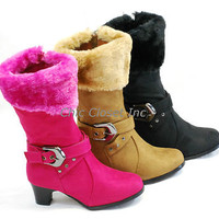 NEW Girls Mid Calf High Heel Faux Fur Boots Suede JR Kids Zipper Pretty shoes