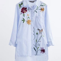 WealFeel Life Is A Flower Striped Embroidered Shirt