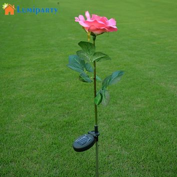 Lumiparty Outdoor Solar Powered Pink Rose Flower Lights Solar Powered Garden Decorative Stake Lamp LED Rose Lights for Home