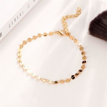 H:HYDE Simple Women/Men Bangle Gold Color personality retro alloy round Flat sequins Link Chain Bracelet Pulseira
